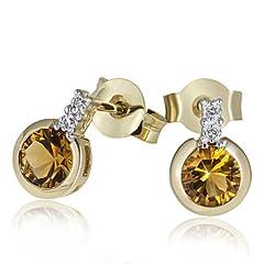 Idea Regalo - Goldmaid Orecchini da Donna Oro giallo Rotondo Diamante Giallo