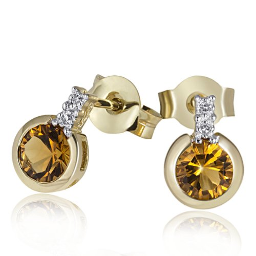 Karat Diamant-ohrringe 3 4 (Goldmaid Damen-Ohrstecker 585 Gelbgold 4 Diamanten  2 Citrine Ohrringe Schmuck)