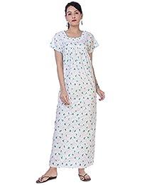 c947828b1e Indian Women Casual Cotton Night Gown Bikni Cover Indian Dress Long Skirt  Maxi Nightdress White