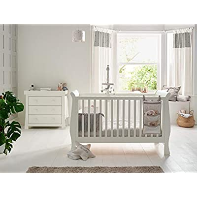 Mamas & Papas Mia Sleigh 2 Piece Nursery Furniture Set with Cot Bed and Dresser/Baby Changing Unit - Ivory