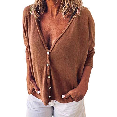 Cashmere Knit Weste (POPLY Damen T-Shirt Frauen Sexy V-Ausschnitt Langarm Short Knit Tops Oberteile Einfarbig Button Down Bluse (Braun,S))