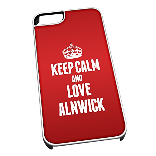Duke Gifts Bianco Cover per iPhone 5/5S 0010 Red Keep Calm And Love Alnwick