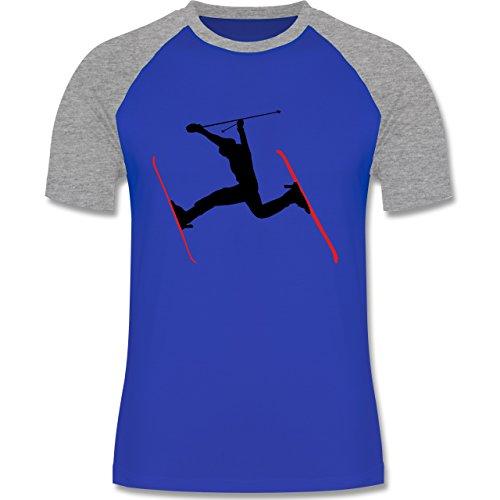 Wintersport - Skifahren Skisprung Ski - zweifarbiges Baseballshirt für Männer Royalblau/Grau meliert