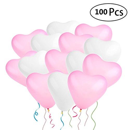 NUOLUX Hochzeit Luftballons,geformte Herz Luftballons für Party Dekoration, 100 Stück (Rotes Herz Geformte Ballone)