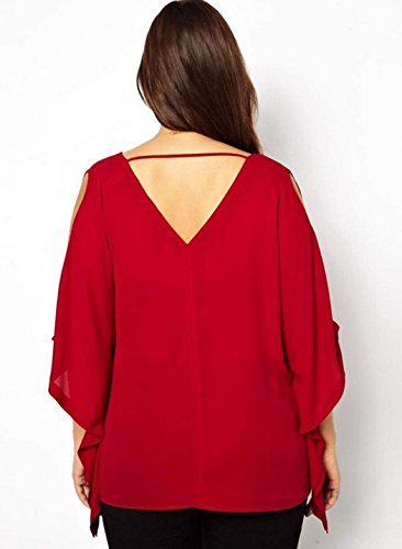 Minetome Femmes Plus Size Sexy V-cou Manches Chauve Souris Chemisier Mousseline de Soie T-shirt Tops Rouge