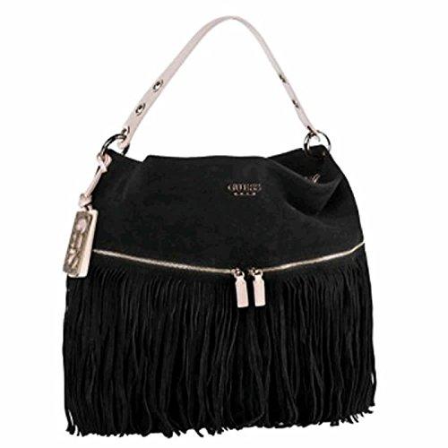 Guess luxe Black Celebes Fringe Hobo, 100% suede Leder; 35x30x5 cm (Hobo Handtasche Fringe)