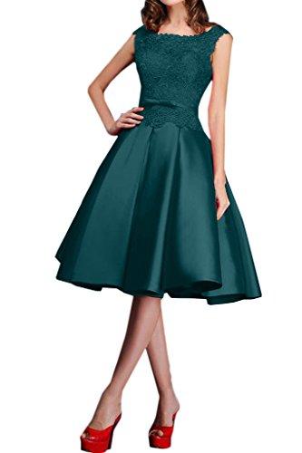 Royaldress Blau Spitze Knielang Satin Abendkleider Promkleider Brautmutterkleider A-linie Kurz Rock Dunkel Blau