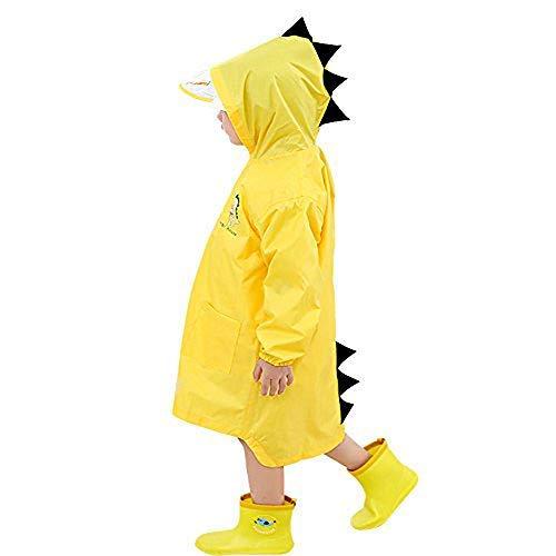 Impermeabile per bambini, cappotto per bambini in plastica per bambini giacca per pioggia leggera a forma di dinosauro per ragazze o ragazzi (l)