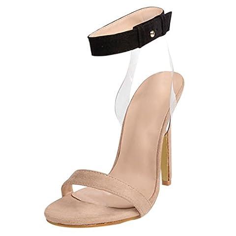Oasap Women's Peep Toe Stiletto Heels Buckle Strap Party Sandals, Apricot EURO38/US7/UK5