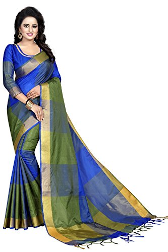 J B Fashion Women's cotton Silk Saree With Blouse Piece(green)