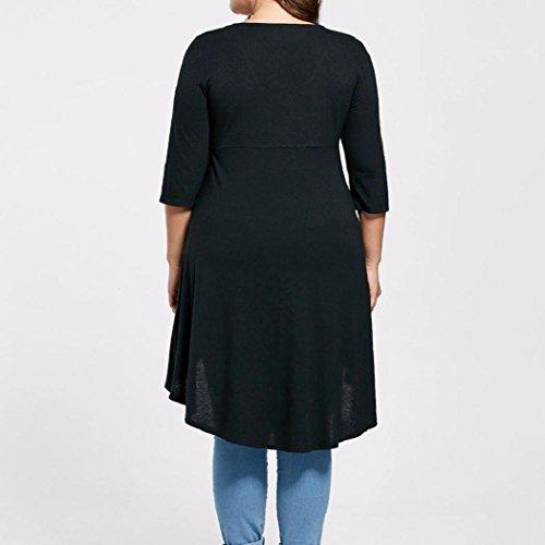 Donne Camicetta,EUZeo Plus Size Lady tre quarti manica camicia alta basso orlo cime camicetta Nero