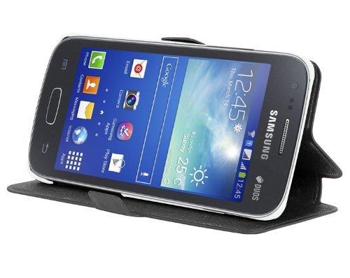 Cadorabo - Ultra Slim Book Style Hülle für Samsung Galaxy ACE 3 (GT-S7275) mit Kartenfach und Standfunktion - Etui Case Cover in ICY-SCHWARZ
