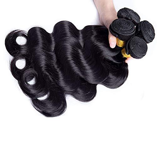 AJIAFA Frau Haarvorhang Brasilianische Körper Welle 1 bündelt unverarbeitetes Haar Webart-Erweiterungs-Menschenhaar 100% Jungfrau-Menschenhaar,Black,30inches (30-menschenhaar-erweiterungen)