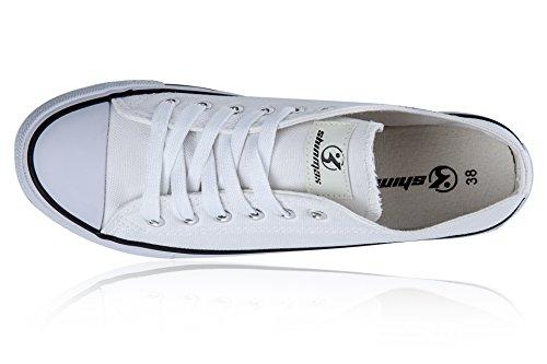 Shinmax New Unisexe Low Cut Chaussure en Toile Toute Saison Lace-Ups Chaussures Baskets Casual pour Basket Toile Femme et Homme Blanc