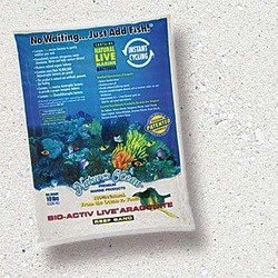 Nature's Ocean Bio-Activ Live Aragonite Reef Aquarium Sand Natural White #0 20 lb