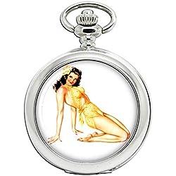 Hawaiian Pin-Up Girl Full Hunter reloj de bolsillo