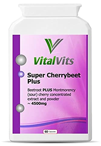 Super CherryBeet capsules 4500mg per cap (60 x veggie caps)new and improved combination beetroot and Montmorency (sour) cherry formula replaces Active