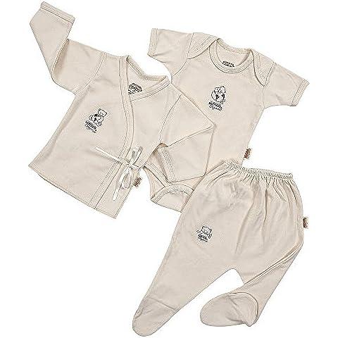 Baby visone Biologico 100% cotone 3pezzi–Tuta, Camicia