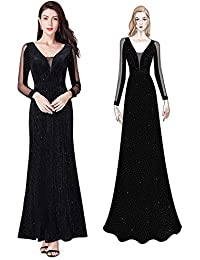b4b24260d9 Ever Pretty Women s Elegant Long-Sleeve V Neck Glitter Mother Formal  Evening Party Dress 07394