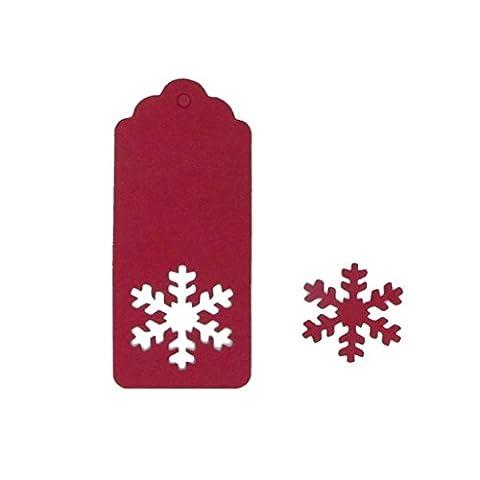 eKunSTreet ® 50pcs Red Hollowed Snowflake Paper Tags / Cards