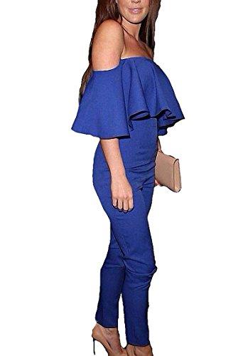 Damen Festliche Trägerlo Elegant Overalls Lang Jumpsuit Rundhals Ausschnitt Frauen Sommer Overall Party Abendmode Blau