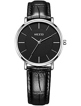 Kezzi Damen-Armbanduhr Klassische Leder Schwarz Uhren Frauen k738
