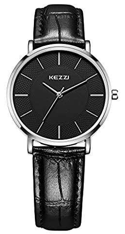 Kezzi Small Ladies Watches Black Leather Strap Silver Women Wrist Watch Quartz Analog 30M Waterproof Casual