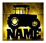 Schlummerlicht24 Led 3d Wand-Lampe Trekki Traktor Lampe mit Name, Geschenk Bauernhof Bauer Landwirte Jungs und Mädchen Geschenke für Jungen mit Namen