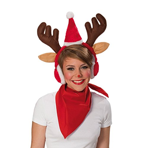renschützer mit Weihnachtsmütze Mütze Weihnachten Weihnachtsmanm Rudolf Geweih Rote Nase Ohren Schützer Weihnacht braune Rentierohren (Braune Ohren Kostüm)