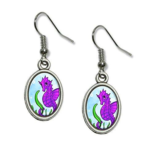 Seepferdchen sea horse pink violett–Ocean Water Niedlich Neuheit Dangling Drop oval Charm-Ohrringe