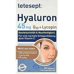 tetesept Hyaluron 45 mg Lycopin + Q10 – Ergänzungspräparat mit Vitamin C für eine normale Kollagenbildung - Wirkung von innen – 1 x 30 Tabletten [Nahrungsergänzungsmittel]