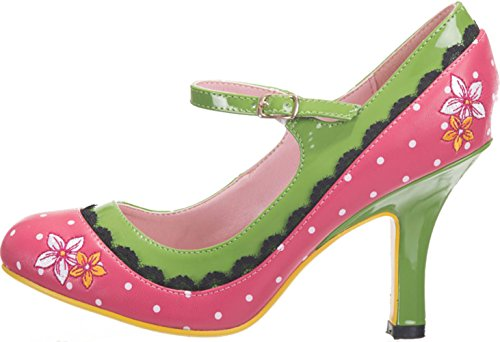 Dancing Days Pumps Henley Punkte Riemchen High Heels Pink mit weißen Dots / Grasgrün 37
