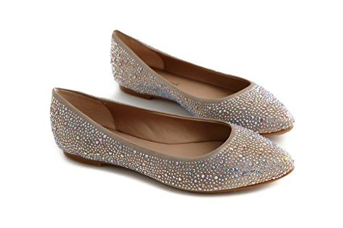 Pretty Nana Donna Ballerina/Flat in Raso Galaxy con Strass 501380 Taupe