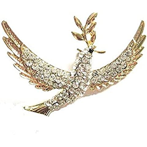 Finiture in oro, in cristallo, con Pin-Spilla a forma di uccello volante, regalo festa Fashion Jewellery