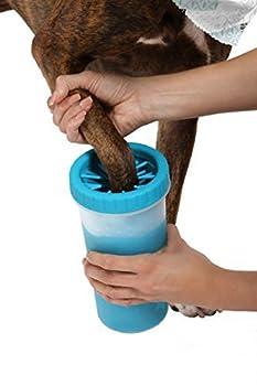 MARCHY Nettoyeur de patte de chien portable Laveur de patte de chien intelligent - Idéal pour les chiens actifs ou les jours de pluie (M, Bleu)