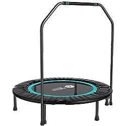 WZFC Mini trampolín Fitness con Manillar, trampolín Interior Plegable,Ejercicio Corporal y Ejercicios cardiovasculares,Blue