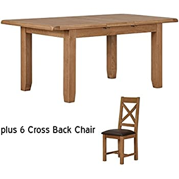 6fe4ea759c3e9 Solid Oak Medium Sized Extendable Dining Table & Chairs Set - 4 Chairs or 6  Chairs - Dining Furniture (Table + 6 Matching Chairs)