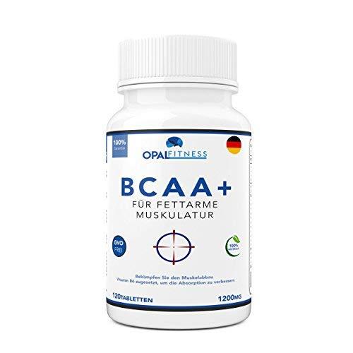 BCAA Tabletten | 1200mg verzweigtkettige Aminosäuren | BCAA+ mit zugesetztem Vitamin B6 als Absorptionhilfe | Leucin,Isoleucin und Valin im optimalen 2 1 1 Nährstoffverhältnis | Opal Fitness