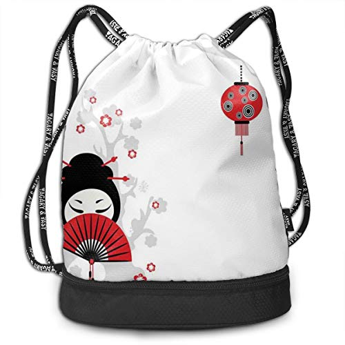 MLNHY Printed Drawstring Backpacks Bags,Geisha Woman Holding Japanese Fan Floral Landscape Crane Bird Happiness Classical,Adjustable String Closure -