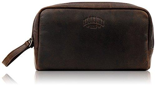 Klondike 1896 Echtleder Kulturtasche 'Tad',robuster Kulturbeutel aus echtem Leder für Damen und Herren,Dunkelbraun Damen Gold Digger