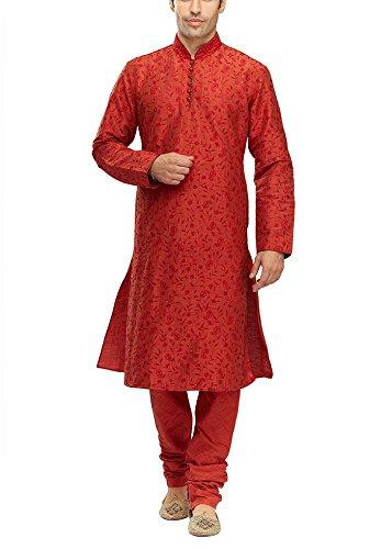 Manyavar Men's Silk Kurta Pyjama (8903035276643_S952342-329-S_Red)