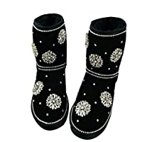 EXLEXD& European Station Crystal gem Snowflake Leather Snow Boots net red Show Show Models Black 41