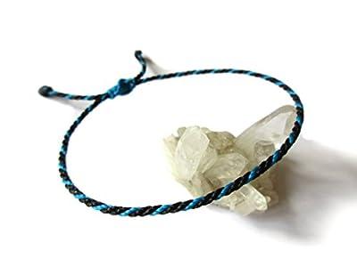 Bracelet corde/fil Noir et Bleu. Simple/Unisexe/Porte chance/Brésilien. Cordon fait et tressé main avec du fil ciré et ajustable. Réf.#Bi10