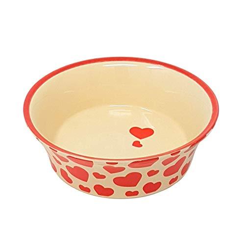 Ausgestellt Rot Creme Liebe Herzen Porzellan Keramik Haustier Hund Welpe Wasser Futter Napf -