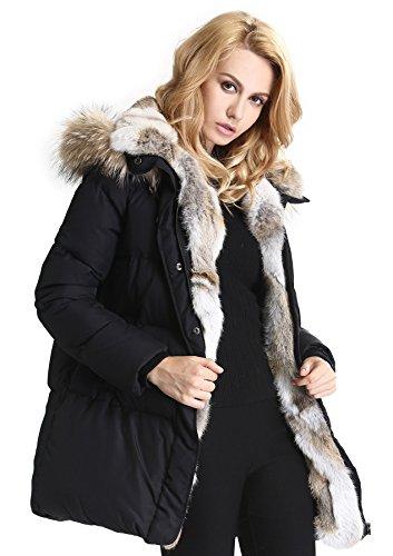 Escalier Donna Inverno giù cappotto piume d'anatra bianca con genuino pelliccia di procione con cappuccio 40 nero