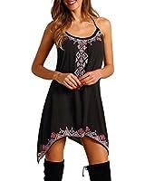 Kleid damen Kolylong Frauen Polyester Boho Stil Ärmellos Minikleid