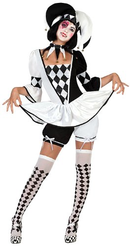 Kostüm Weiblich Französisch - ATOSA 22963 22963-Hofnarr weibliches Kostüm, Größe, Damen, Schwarz/Weiss, XL