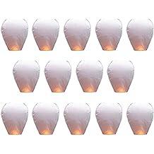 Goodlucky365 14 PZ Bianca Lanterne Di Carta Cinese Lanterne del Cielo Lampada della Auguri Per la Festa Nuziale
