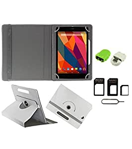 Gadget Decor (TM) PU Leather Rotating 360° Flip Case Cover With Stand For Videocon VA72 + Free Robot USB On-The-Go OTG Reader + Free Sim Adapter Kit - White