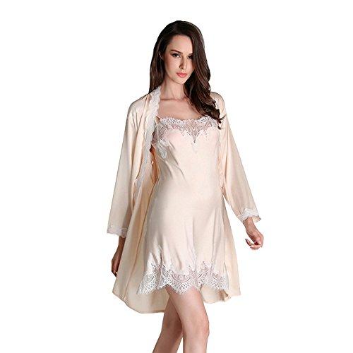 ZOYOL Donne pigiama di seta di alta imitazione cablaggio Slim vestito a due pezzi , 2 , m - Principale Cablaggio
